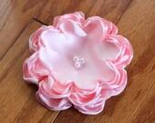 Pink Singed Flower Headband or Clip