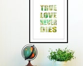 typograph 11x14 love art print poster  map quote colored home decor love  motivational wall hanging