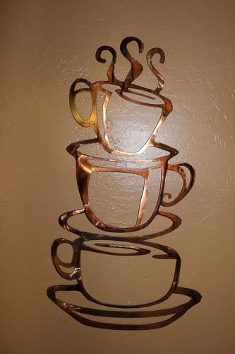 Metal Sculptures And Art Wall Decor: Coffee Cups LG 24 Kitchen Home Decor By HEAVENSGATEMETALWORK