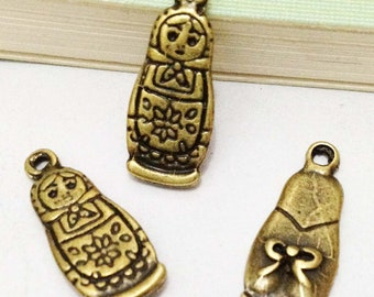 25pcs Antique Bronze Russian Matryoshka Doll Charm Pendant 8x20mm B404-1