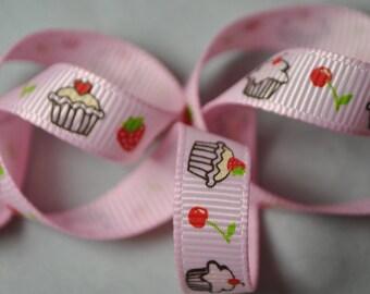 SALE! Cupcakes on Pink Grosgrain - 100 yards, 3/8 inch wide