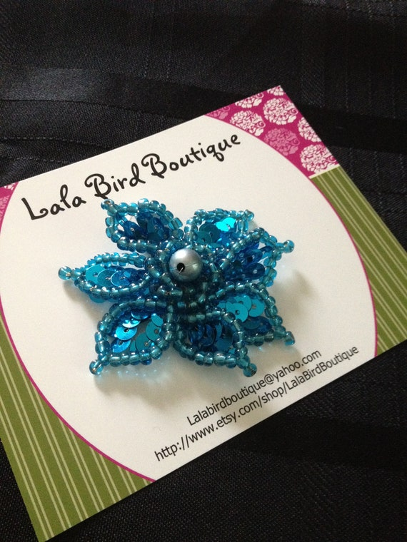 Hairclip - Toddler, Child, Baby - Turquoise Sequin Flower  - READY TO SHIP