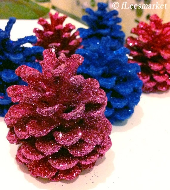 Glitter Pine Cones - Silver, Gold, Red, Blue, Pink, White, Green
