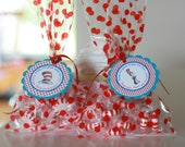 12 Dr Cat Hat Theme Birthday Party or Baby Shower Favor Tags - Party Circles - Party Pack Specials - Free Ship Over 65.00