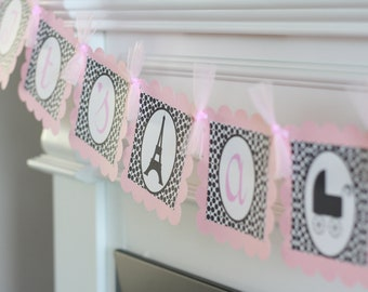 """Paris Eiffel Tower French Pink & Black Baby Shower """"It's A Girl"""" or """"Baby Girl"""" Banner - Blue Black Also Avail - Party Pack Special"""