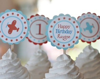 12 Vintage Airplane Themed Birthday Cupcake or Cake Toppers - Ask About our Party Pack Sale - CUSTOM - Free Ship Over 65.00