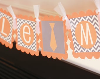 "Mustache Bash, Tie or Bowtie Baby Shower or Birthday Chevron ""Little Man"" or ""Its a Boy"" Banner Orange Grey"