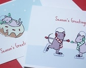 Mouse Christmas Cards - Cute Holiday Card Set of 6