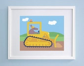Construction Boys Nursery - Aardvark in Bulldozer Kids Wall Art (8x10) - GrizzlyBearGreetings