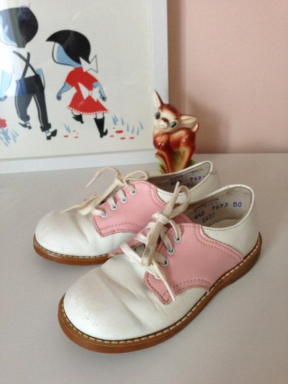 Vintage Pink White Saddle Toddler Girl Shoes