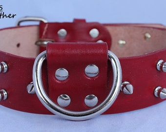 Red Leather Dog Collar with Spikes