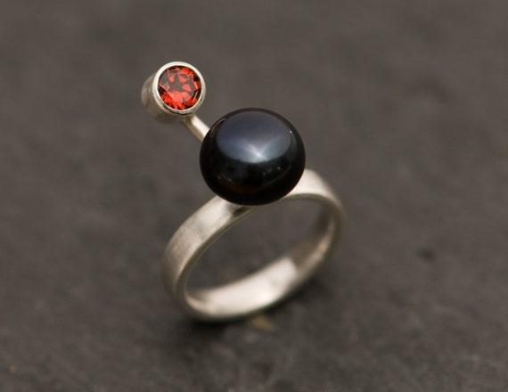 Black Pearl Ring - Black Pearl and Red Garnet Ring  - Red Garnet Ring - Pearl Ring - Made to Order - Free Shipping