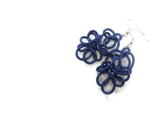 Cobalt Blue Wire Art Earrings Winter Dangle Lacy Unique Jewelry