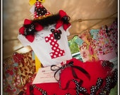 Red Dot Mickey Disney Girl Boutique Birthday Outfit Tutu Shirt Hat Pink Dots First Second Third Sewn