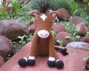 Crochet Baby Horse, vegan plush toy doll amigurumi brown stuffed animal ranch farm pony gift boy or girl MADE TO ORDER