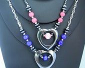 Hematite heart necklace with cat's eye and glass beads