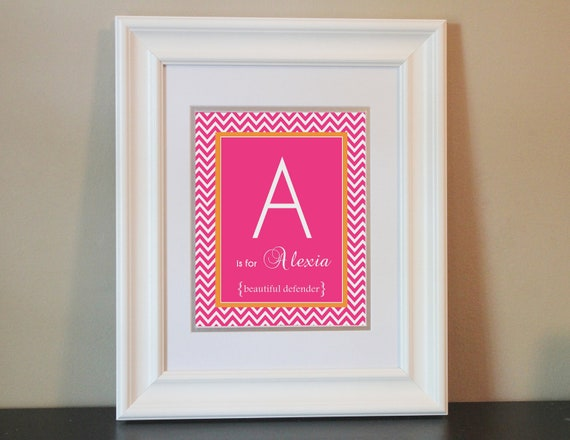 Chevron Baby Nursery Name Art Girl (Pink & Orange)- 8x10 Personalized Print