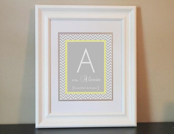 Chevron Baby Nursery Name Art Girl (Gray & Yellow)- 8x10 Personalized Print