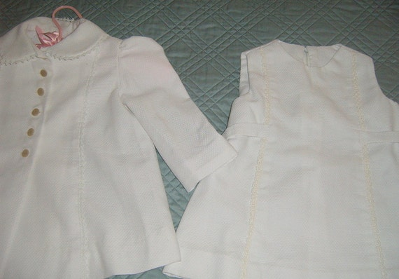 Vintage Baby Girl Coat and Dress, White Baby Coat, Baby Coat Dress Outfit.