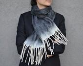 Gray Felted scarf merino wool silk