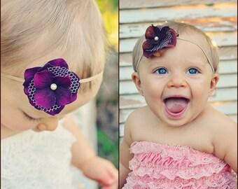 Charlotte - Flower Headband Brown, or Purple