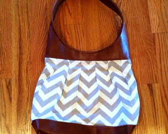 Leather and Canvas Purse | Caramel Leather & Grey Chevron Large Pleated Shoulder Bag | Chevron Purse | Faux Leather Bag | Shoulder Tote