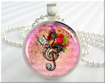 Music Note Necklace, Resin Charm, Pink Accessory, Treble Clef Resin Pendant, Musical Art Jewelry, Round Silver, Musician Gift (311RS)