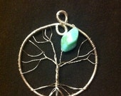 Tree of Life Pendant with Teal Bead