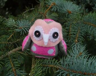 Owl Countryside Softie Pink Plush Plushie Soft Art Doll Stuffed Animal Woodland Owl