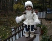 Hand knitted,Warm winter jacket and hat to match, for American girl doll