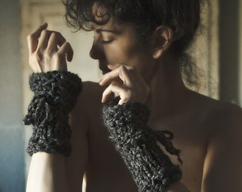 Hand Knit Fingerless Gloves Knit Texting Gloves Knit Wrist Warmers Grey