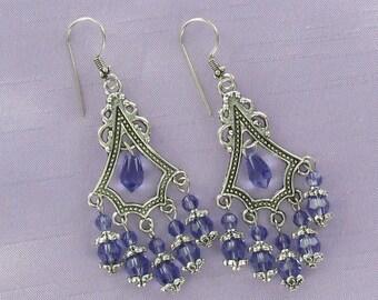 CHANDELIER EARRINGS - Pewter and Swarovski Crystal Dangles Tanzanite Purple