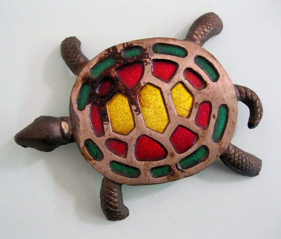 Vintage Stained Glass Turtle Trivet