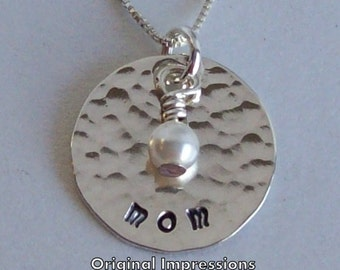 Mom pendant necklace handmade of sterling silver decorated with a Swarovski crystal pearl bead on a sterling silver chain. Handmade.