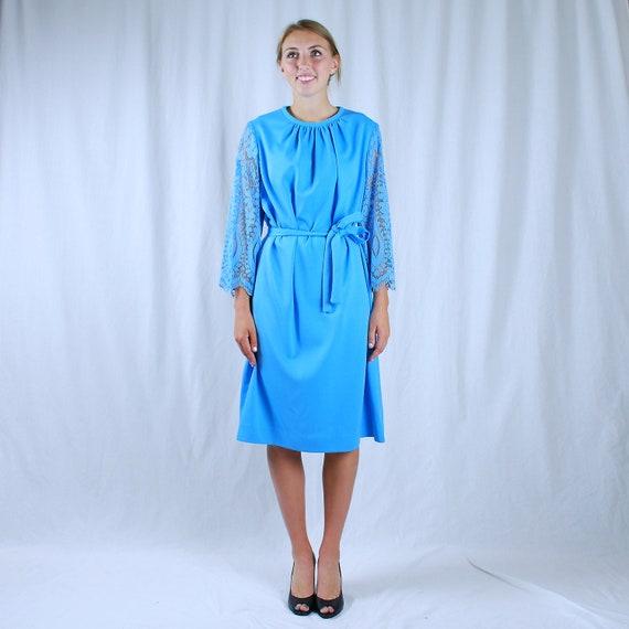 1970s Lace Sleeve Dress, Vintage Turquoise Blue Polyester Dress, Plus Size 20 1/2, XXL, ILGWU Union Made