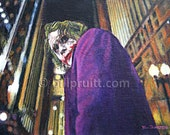 The Joker Heath Ledger the Dark Knight Batman art print 12x16 signed & dated Bill Pruitt