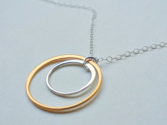 Eternity circle necklace, silver & gold,Sun and moon, Orbit, modern, simple jewelry, bridesmaid necklace, bridal favor