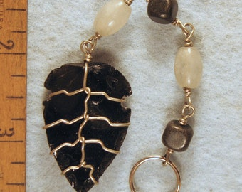 Hand Napped Obsidian Arrowhead Healing and Protection Wire Wrapped Key Chain
