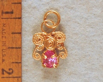 Pink Sapphire Angel Wire Wrapped Pendant in Gold Filled  Wire  Number 7 of 500