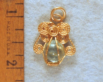 Aquamarine Angel Wire Wrapped Cage Pendant in Gold Filled Wire Number 2 of 500