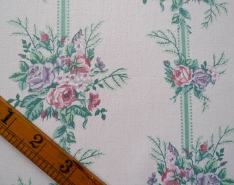 Vintage Rose Print Cotton Fabric, Remnant Piece, Sewing Fabric