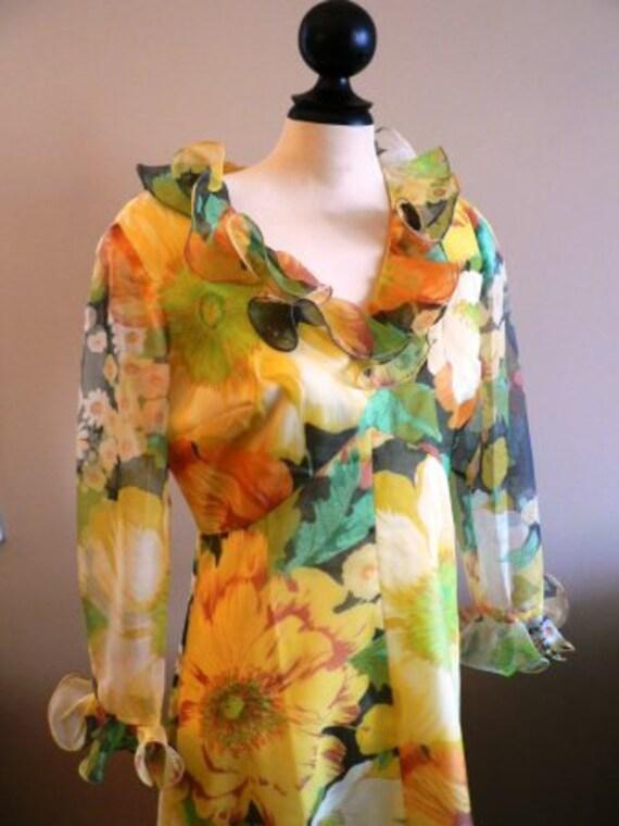 vintage dress ... MAXI 70s FLORAL formal sweet vintage dress ...