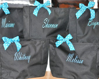 9 Bridesmaid Totes, Bridesmaid Gifts, Bridesmaid Tote Bag, Personalized Wedding Bag, Bridal Party Gift, Monogrammed Totes, Bridesmaids Totes