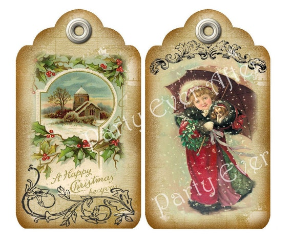 Vintage Christmas Tags Set of 10 Printable by PartyEverAfter
