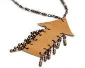 Tan Leather Arrow Necklace
