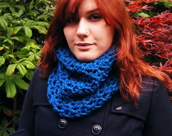 Blue Crochet Cowl Circle Scarf Cozy Neckwarmer