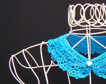 Turquoise Lacy Crochet Cotton Necklace Peter Pan Detachable Collar