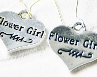 Flower Girl Earrings - Wedding Jewelry Earring Accessories - Bridesmaid Ear Ring - Double LOVE Silver Heart Hearts Gift - Bridal Bride Gifts