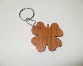 4 leaf clover  keychain wood cherry scroll saw