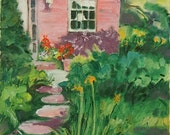 Oil Painting-Garden-Floral-Stone Walk-Front Door-Plein Aire Painting by Diann